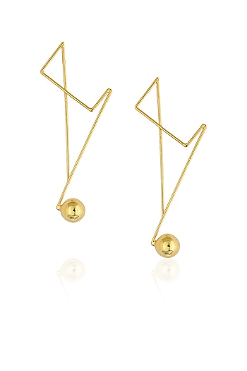 Gold plated abstract single drop earrings by Misho