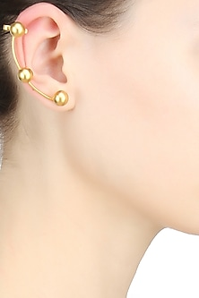 Gold plated ear cuff golden stud earrings by Misho