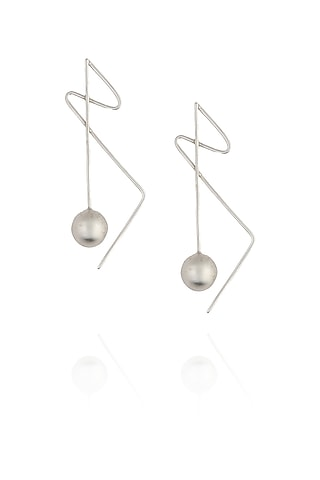 Dull silver finish silver ball drop earrings by Misho