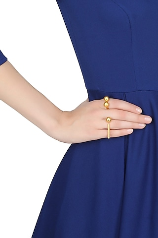 Gold plated open finger ring with parallel bars and sphere ball by Misho