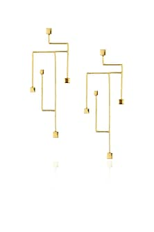 Gold plated golden abstract branch earrings by Misho