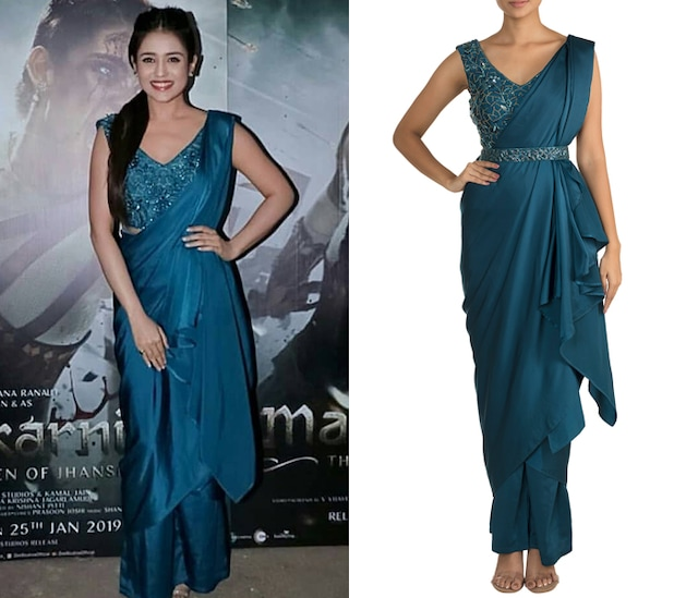 Cobalt Blue Embellished Pant Saree Set by Mehak Murpana