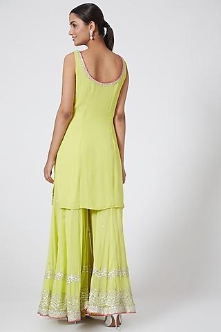 Lime Green Embroidered Gharara Set by Megha &Jigar