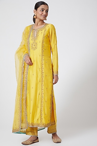Yellow Embroidered Kurta Set by Megha &Jigar