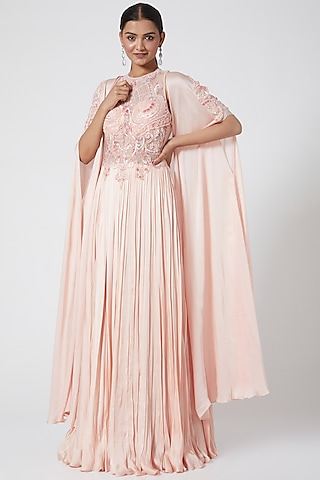 Mauve Embroidered Gown with Cape by Megha &Jigar