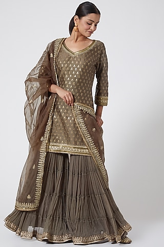 Mouse Grey Embroidered Gharara Set by Megha &Jigar