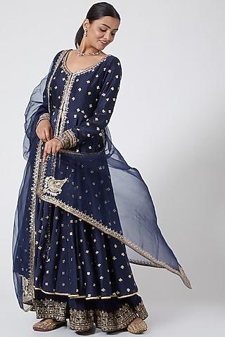 Blue Embroidered Sharara Set  by Megha &Jigar
