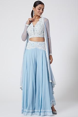 Powder Blue Embroidered Sharara Set by Megha &Jigar