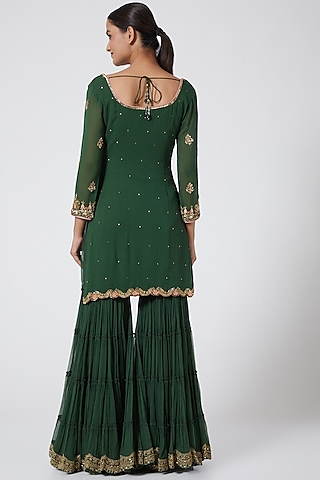 Olive Green Embroidered Gharara Set by Megha &Jigar