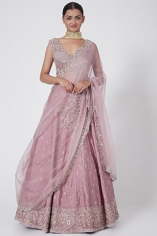 Lilac Purple Embroidered Lehenga Set by Megha &Jigar
