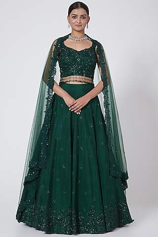 Green Embroidered Lehenga Set by Megha &Jigar