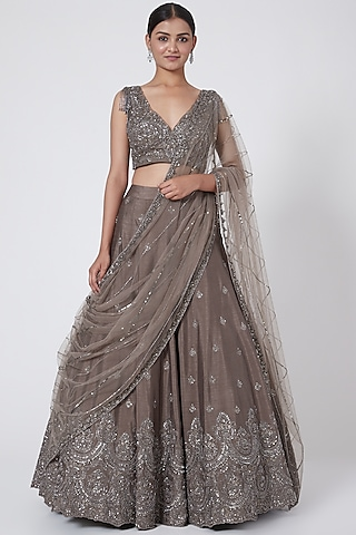 Mouse Grey Embroidered Lehenga Set by Megha &Jigar