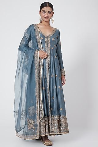 Dusty Blue Embroidered Jacket Kurta Set by Megha &Jigar