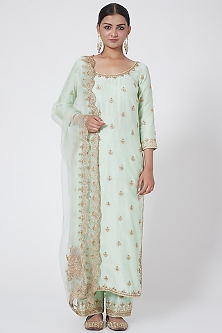 Pista Green Embroidered Straight Kurta Set by Megha & Jigar
