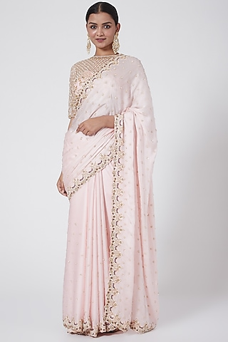 Baby Pink Embroidered Saree Set by Megha &Jigar
