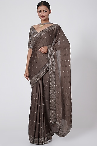 Mouse Grey Embroidered Saree Set by Megha &Jigar