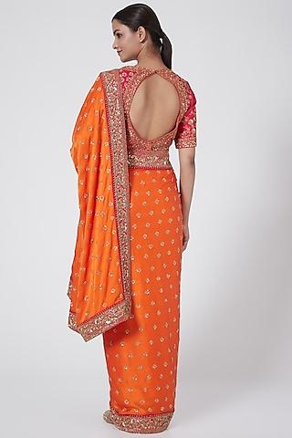 Orange & Pink Embroidered Saree Set by Megha &Jigar