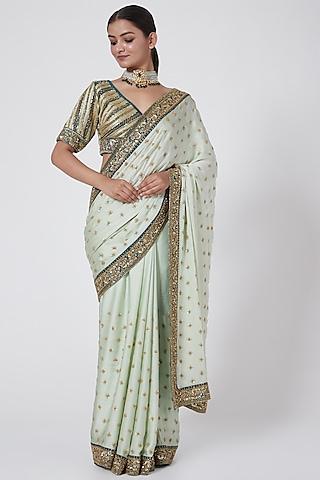 Mint & Dark Green Embroidered Saree Set by Megha &Jigar