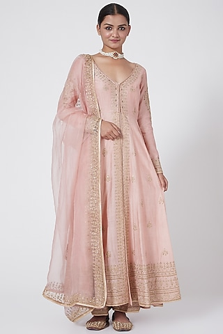 Blush Pink Embroidered Kurta Set by Megha &Jigar