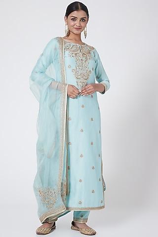 Aqua Blue Embroidered Kurta Set by Megha &Jigar