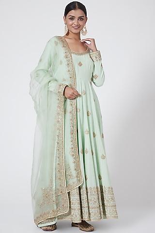 Pista Green Embroidered Anarkali Set by Megha &Jigar