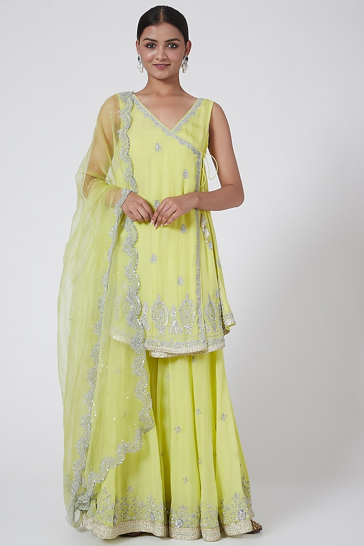 Lime Yellow Embroidered Sharara Set by Megha &Jigar