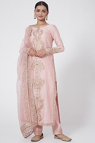 Blush Pink Embroidered Straight Kurta Set by Megha &Jigar