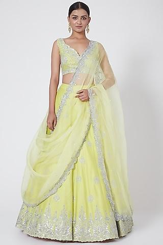 Lime Yellow Embroidered Lehenga Set by Megha &Jigar