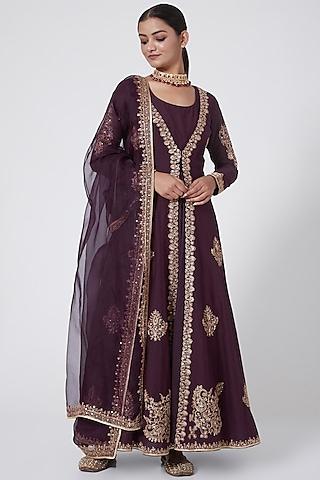 Purple Embroidered Jacket Kurta Set by Megha &Jigar