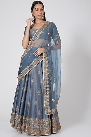 Dusty Blue Embroidered Lehenga Set by Megha & Jigar