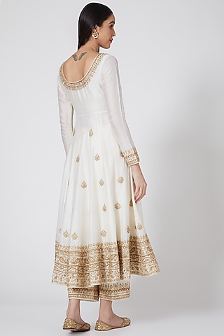 Off White Embroidered Anarkali Set by Megha & Jigar