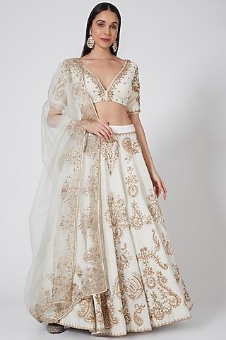 Off White Embroidered Lehenga Set by Megha & Jigar