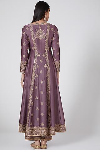 Lavender Embroidered Anarkali Set by Megha & Jigar