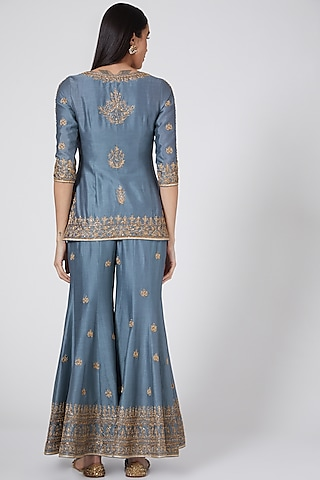 Dusty Blue Embroidered Sharara Set by Megha & Jigar