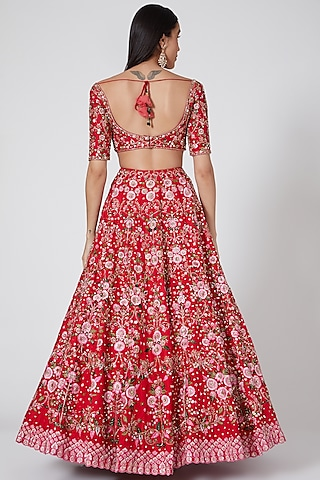 Red Embroidered Lehenga Set by Megha & Jigar