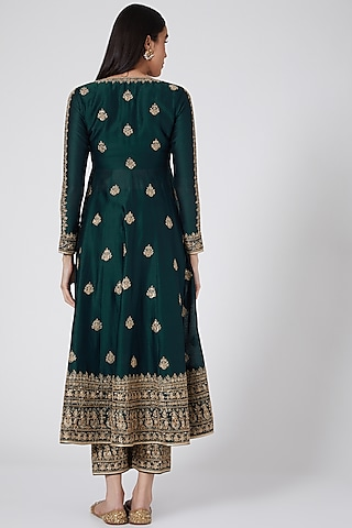 Bottle Green Embroidered Jacket Set by Megha & Jigar