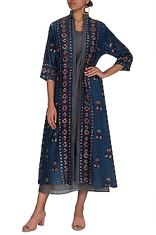 Blue Ajrakh Printed Jacket With Dress by Megha & Jigar