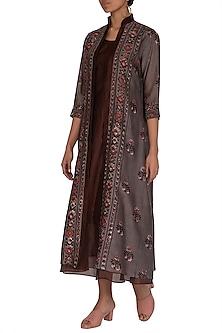 Brick Brown Ajrakh Printed Jacket With Dress by Megha & Jigar