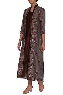 Brick Brown Ajrakh Printed Jacket With Dress by Megha & Jigar