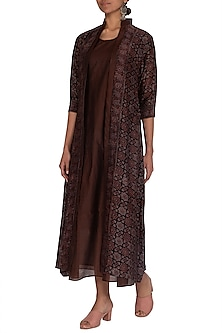 Brown Ajrakh Printed Jacket With Dress by Megha & Jigar