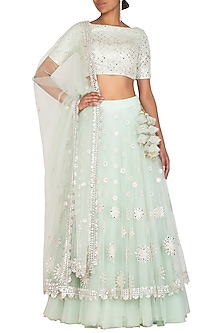 Mint Green Embellished Lehenga Set by Megha & Jigar