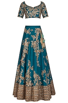 Peacock Blue Embroidered Lehenga Set by Megha & Jigar