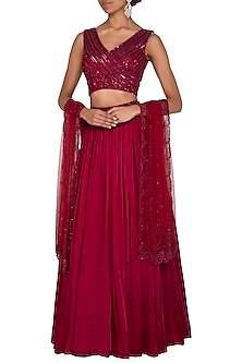 Wine Embroidered Lehenga Set by Megha & Jigar-SHOP BY STYLE