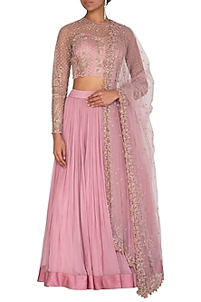 Mauve Embroidered Lehenga Set by Megha & Jigar