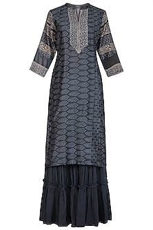 Grey Ajrakh Printed Kurta Set by Megha & Jigar