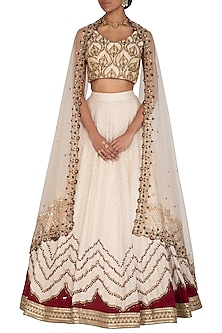 Ivory Embroidered Lehenga Set by Megha & Jigar