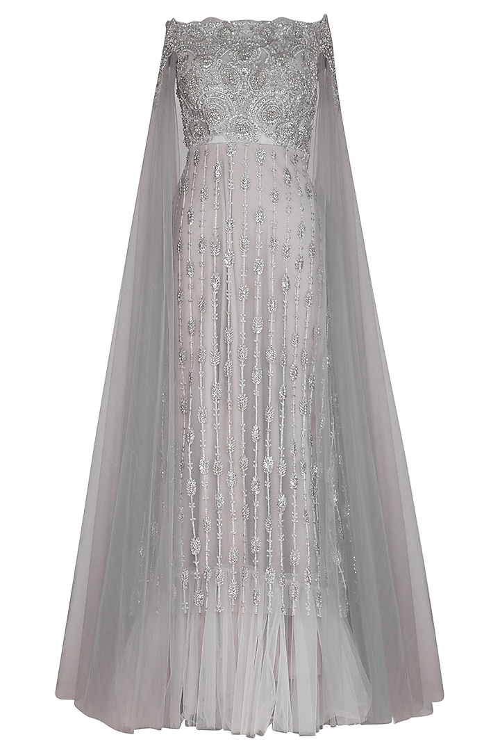 Grey Embroidered Off Shoulder Gown by Megha & Jigar