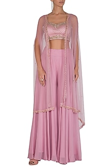Mauve Embroidered Crop Top With Sharara Pants & Cape by Megha & Jigar