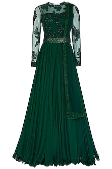 Green Embroidered Anarkali With Dupatta & Belt by Megha & Jigar