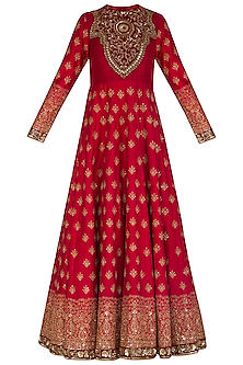 Maroon Embroidered Anarkali With Peach Dupatta & Belt by Megha & Jigar
